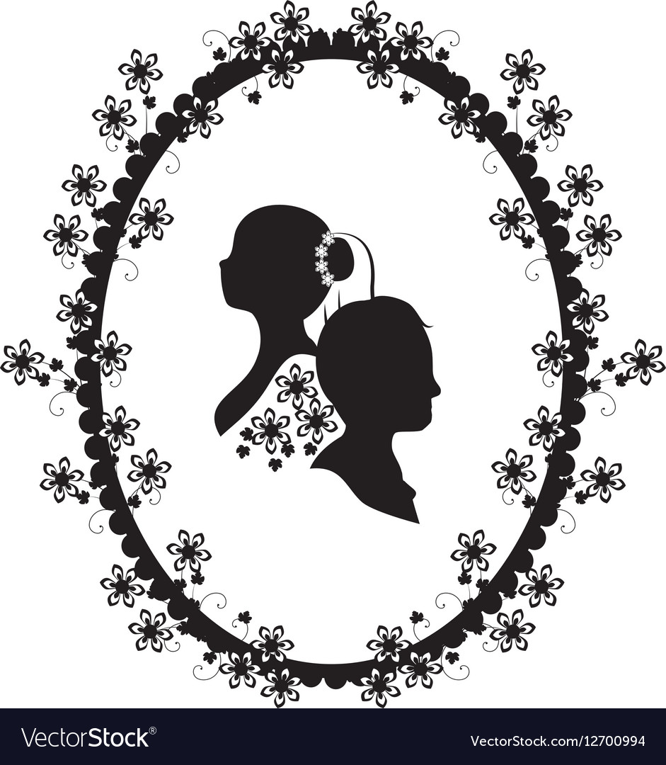 Wedding frame silhouette Royalty Free Vector Image