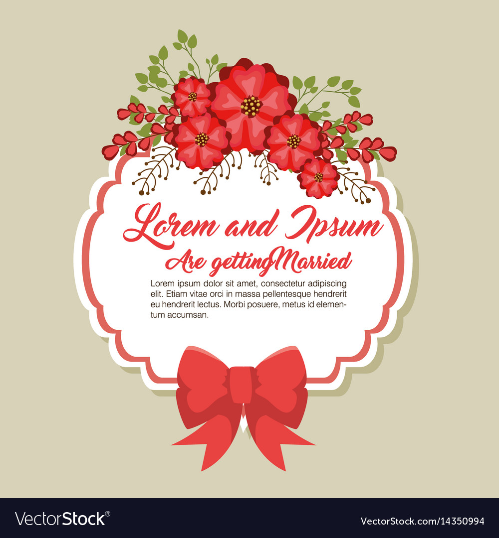 Wedding invitation floral frame Royalty Free Vector Image