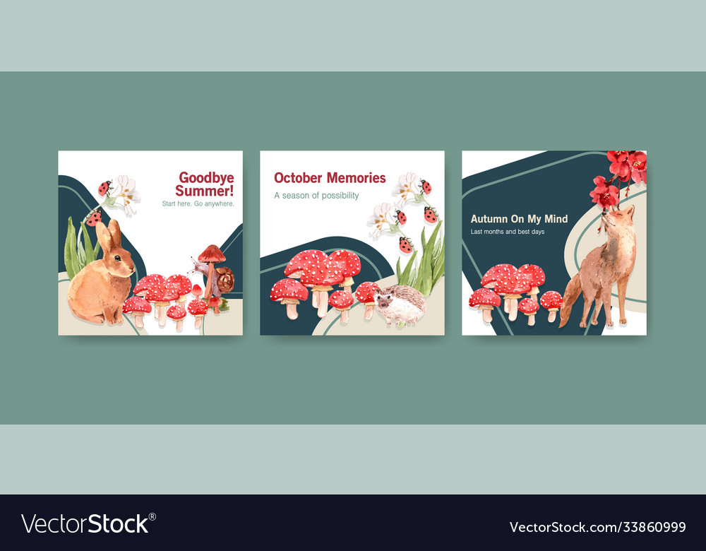 Advertise template with autumn forest and animals