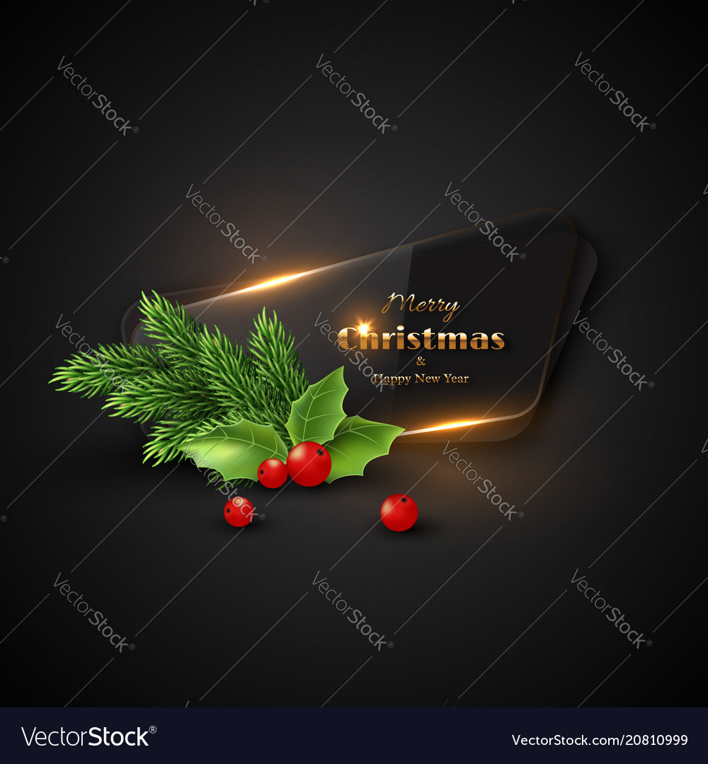 Christmas banner with transparent glass