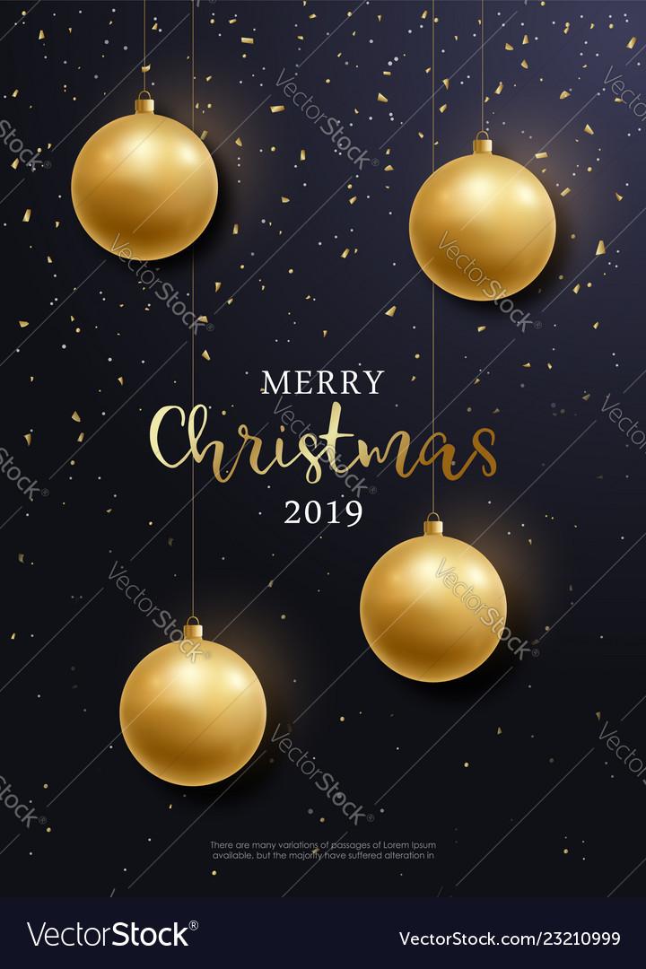 Christmas Flyer Golden Balls Hanging Royalty Free Vector