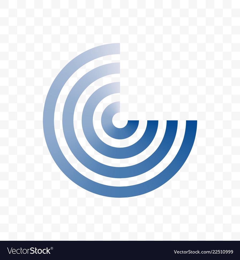 Circle blue line icon