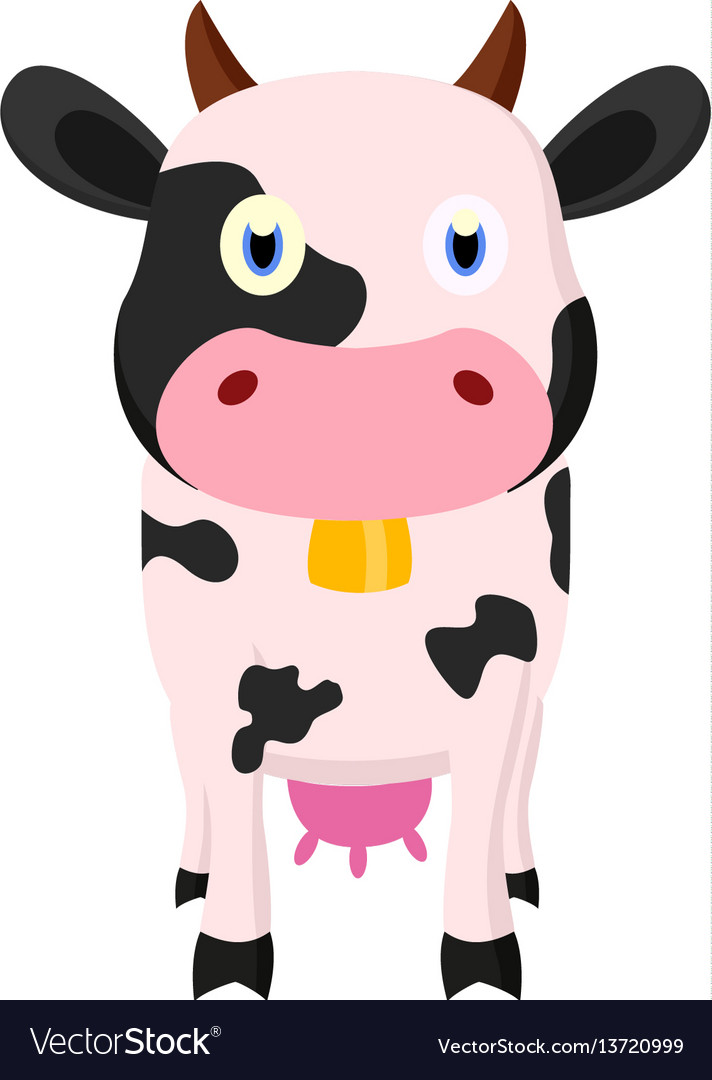 Cute cow cartoon standing