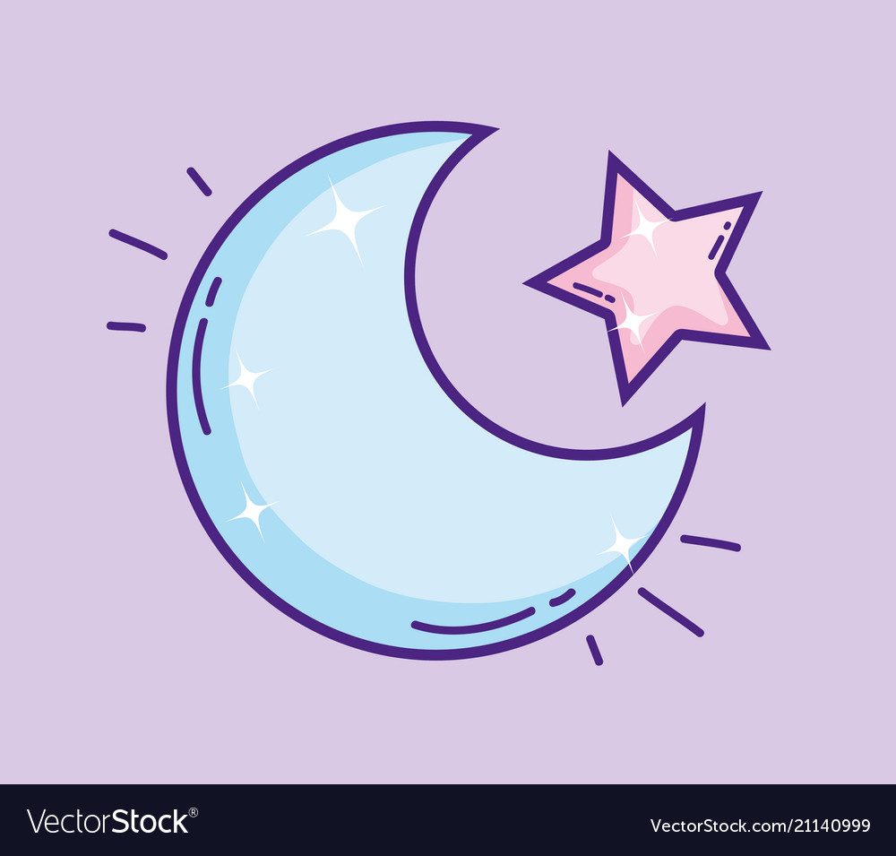 Cutem moon with star