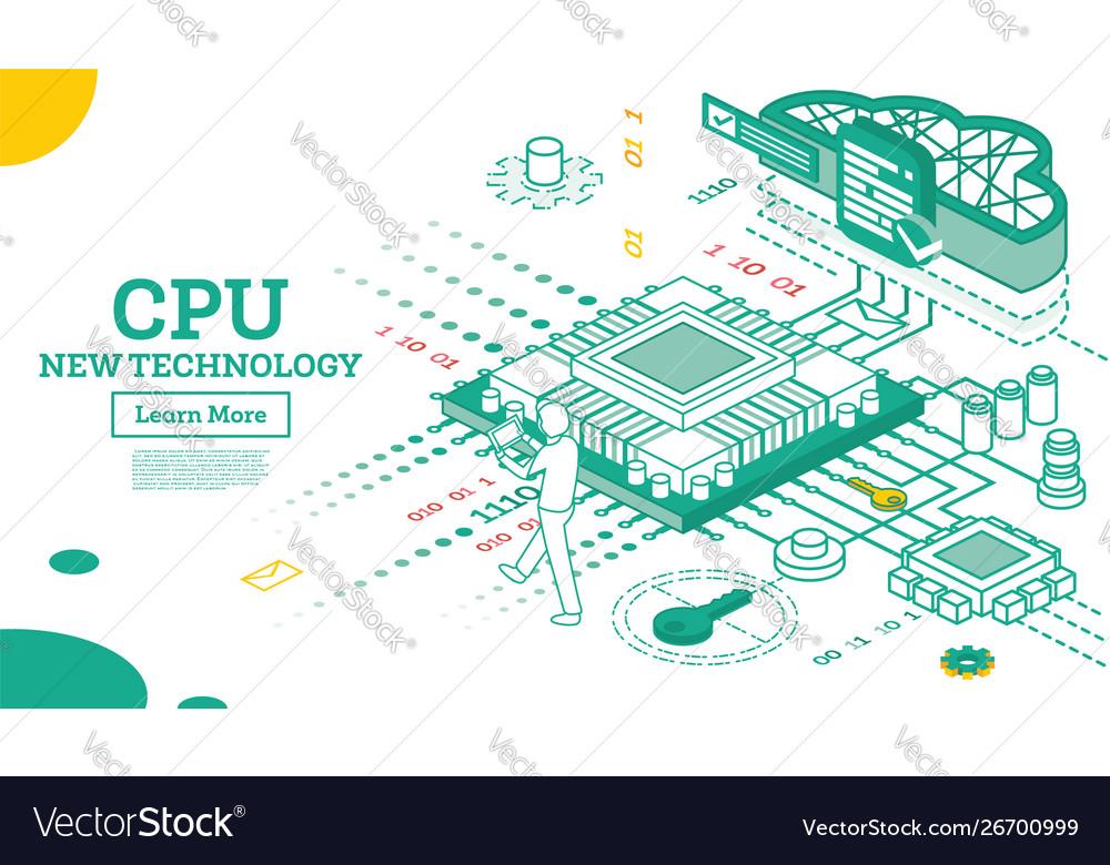 Isometric cpu computer technology big data
