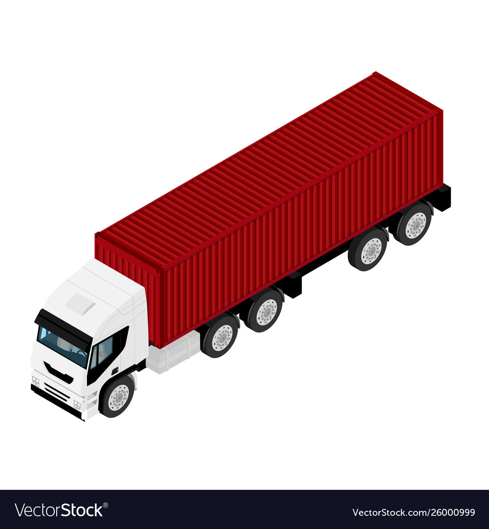 Isometric view white truck with red container