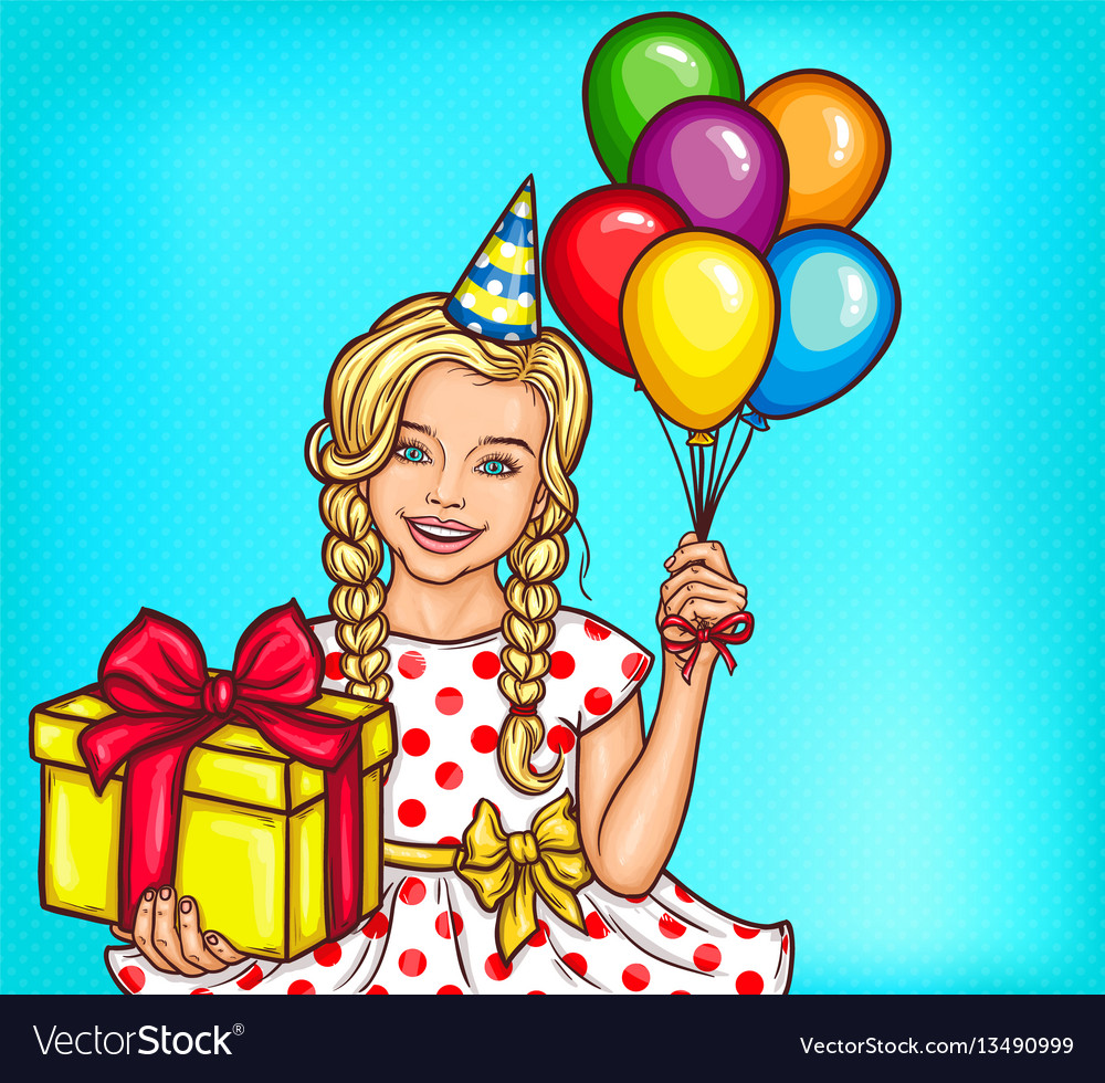 Pop art smiling little girl holding a gift