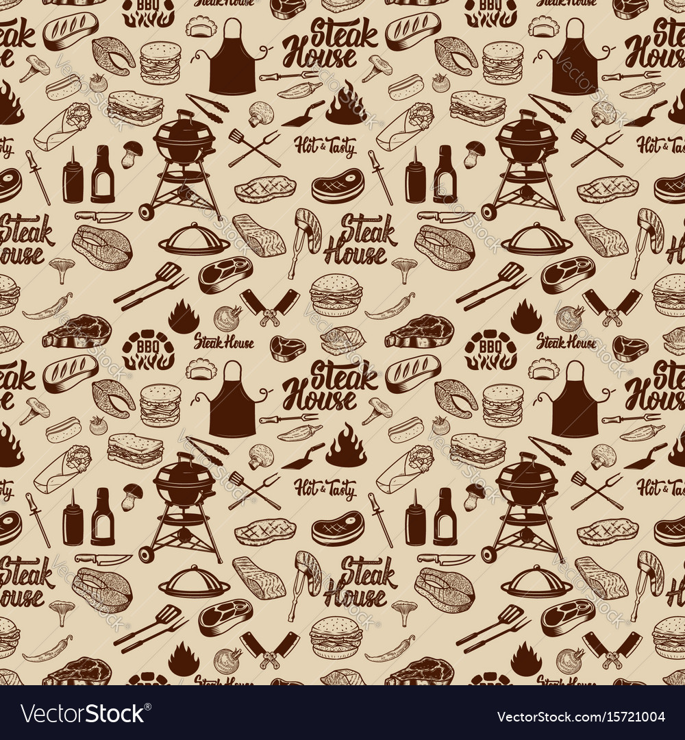 Bbq and grill seamless pattern grilled meat