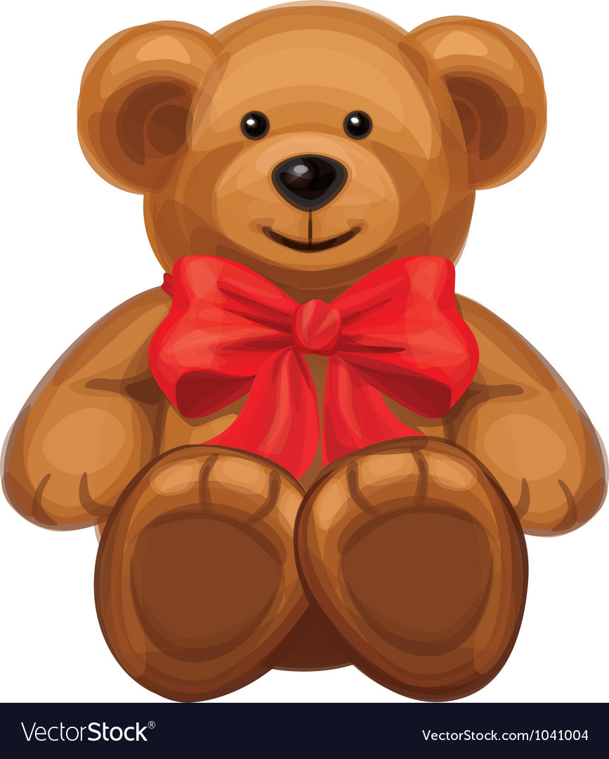 Cute brown bear with red bow