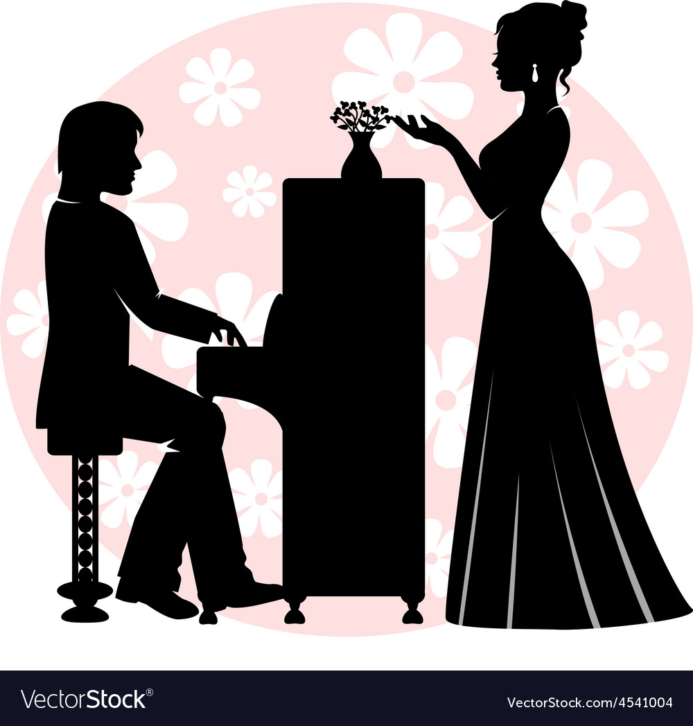 Date in music room vector image