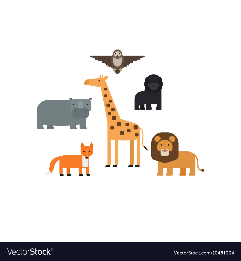 Different animals flat design icons set