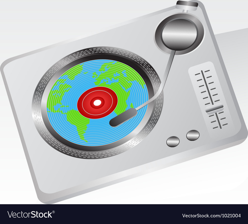 Earth record player vector image