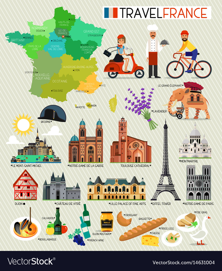 Travel Map Of France.France Landmarks And Travel Map France Travel Vector Image