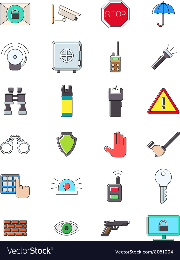 Guard icons set vector image