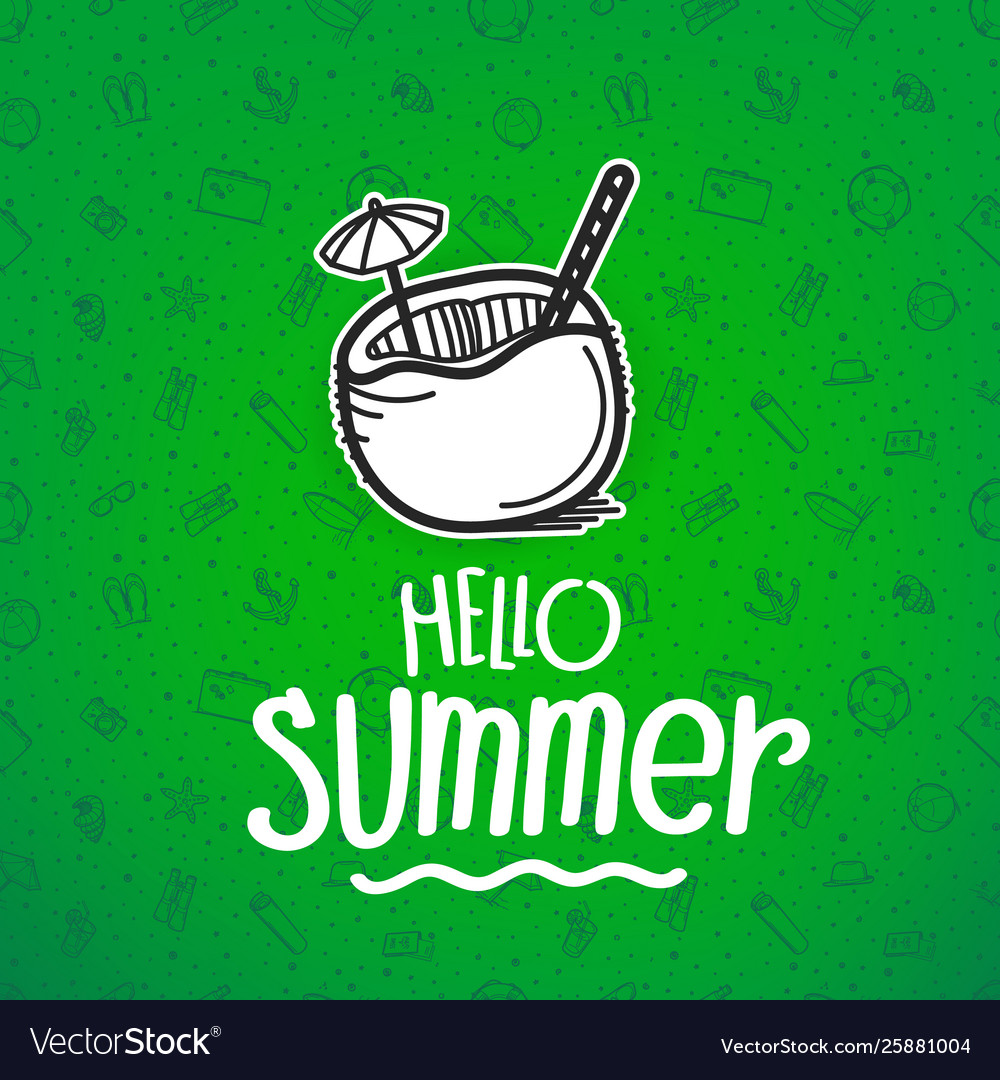 Hello summer green banner with summer logo