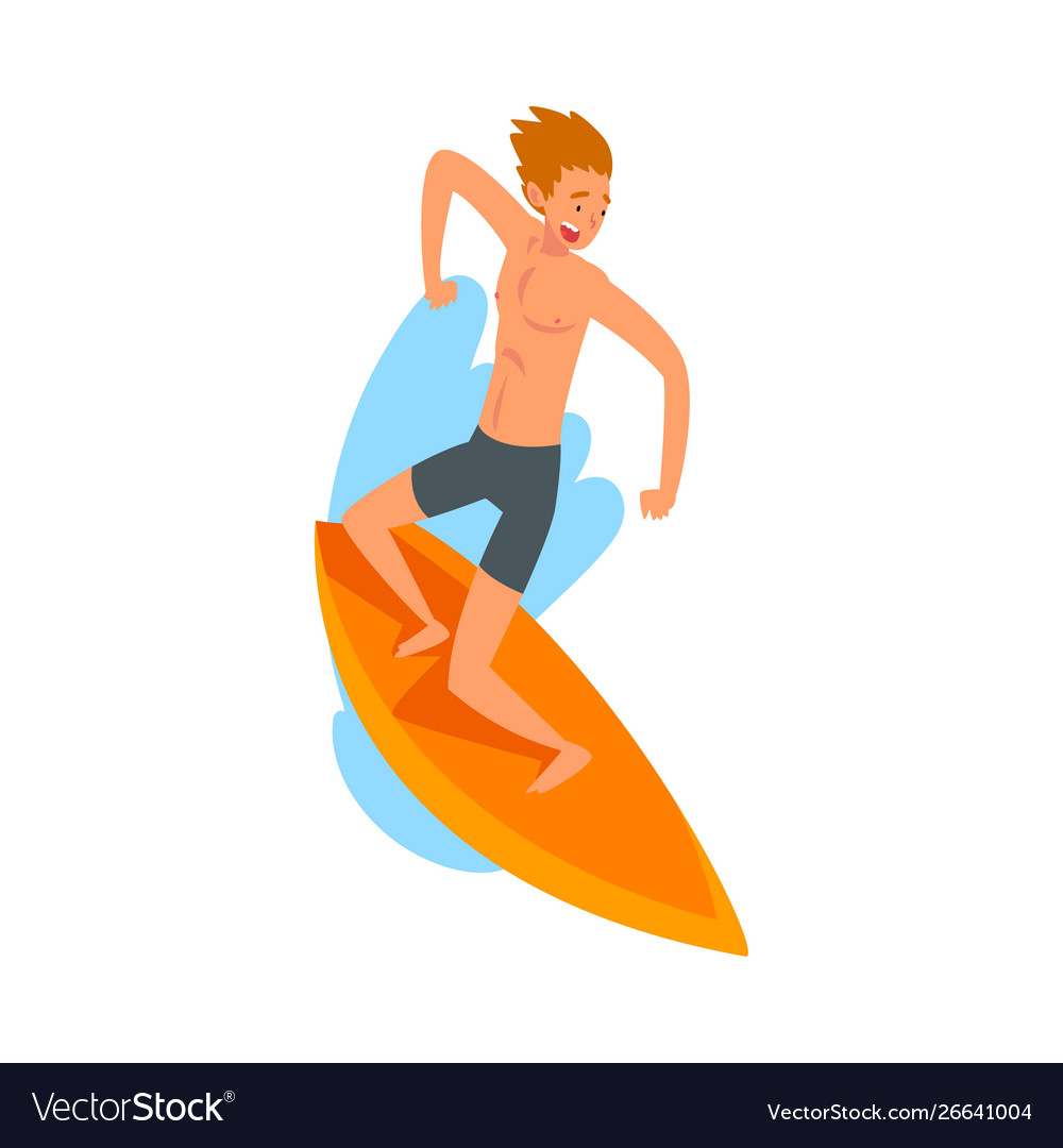 Male surfer character riding waves with surfboard