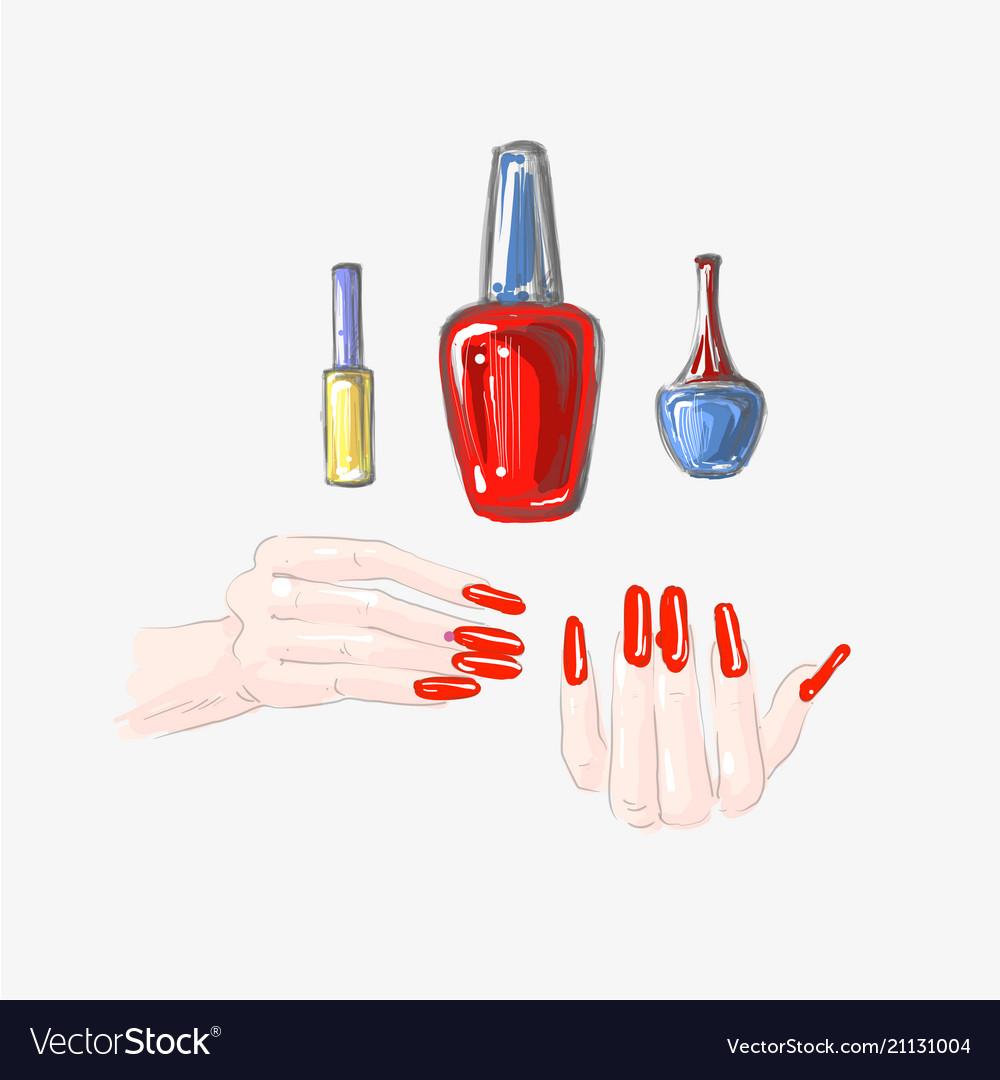 Nail art and nail polish set beautiful female Vector Image