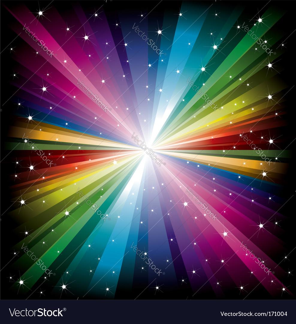Rainbow light with white stars