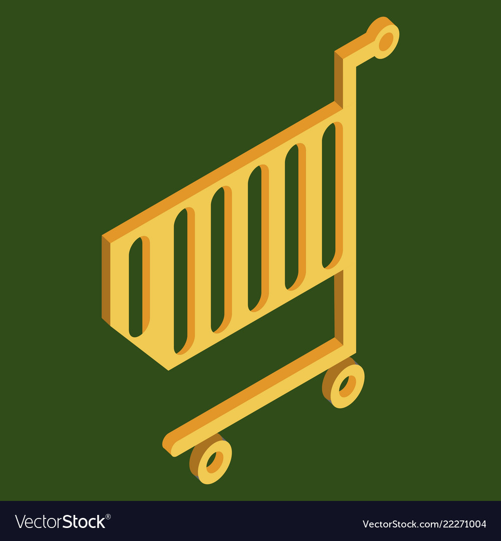 Supermarket shopping cart flat isolated on color