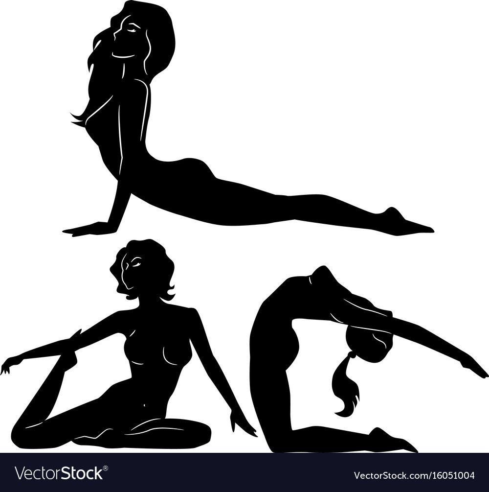 Yoga poses women silhouette vector image