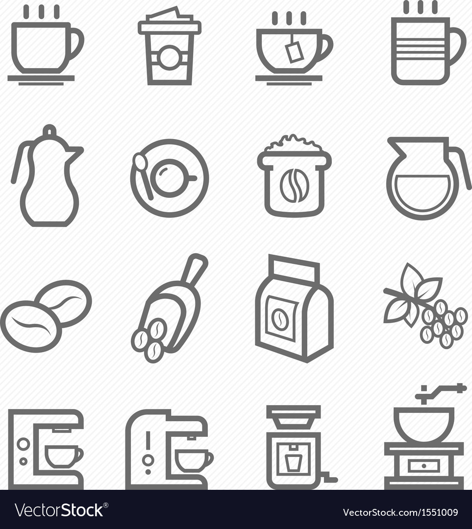 Coffee symbol line icon set vector image