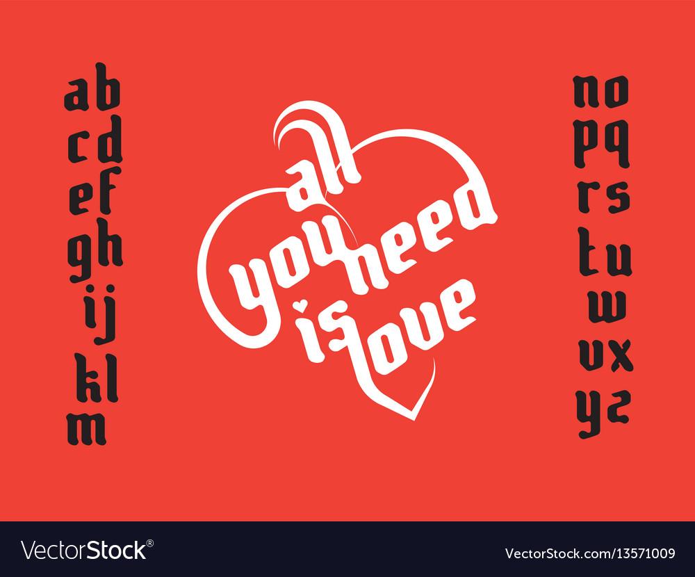 Heart shape lettering