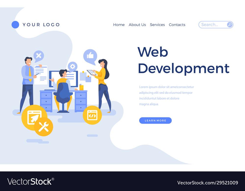 Landing page template web development concept