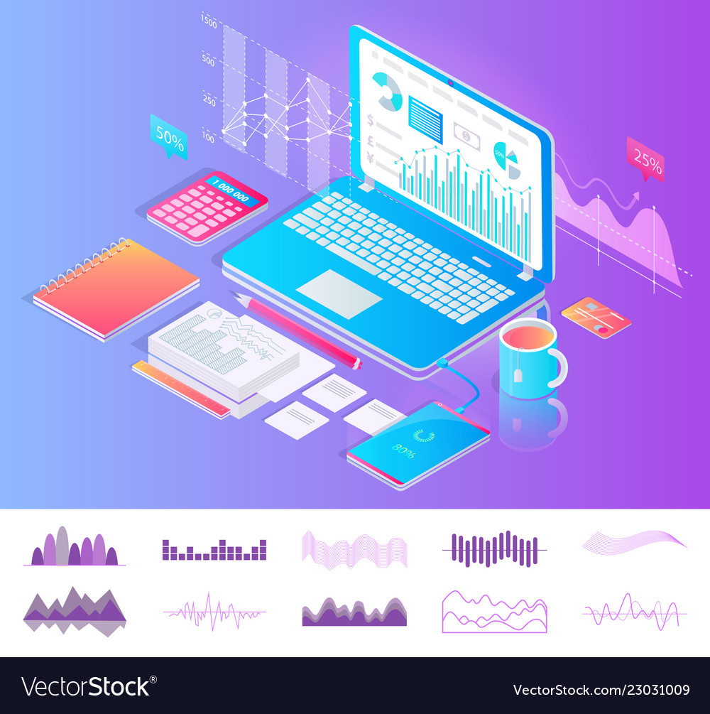 Laptop on desktop with diagrams workplace concept