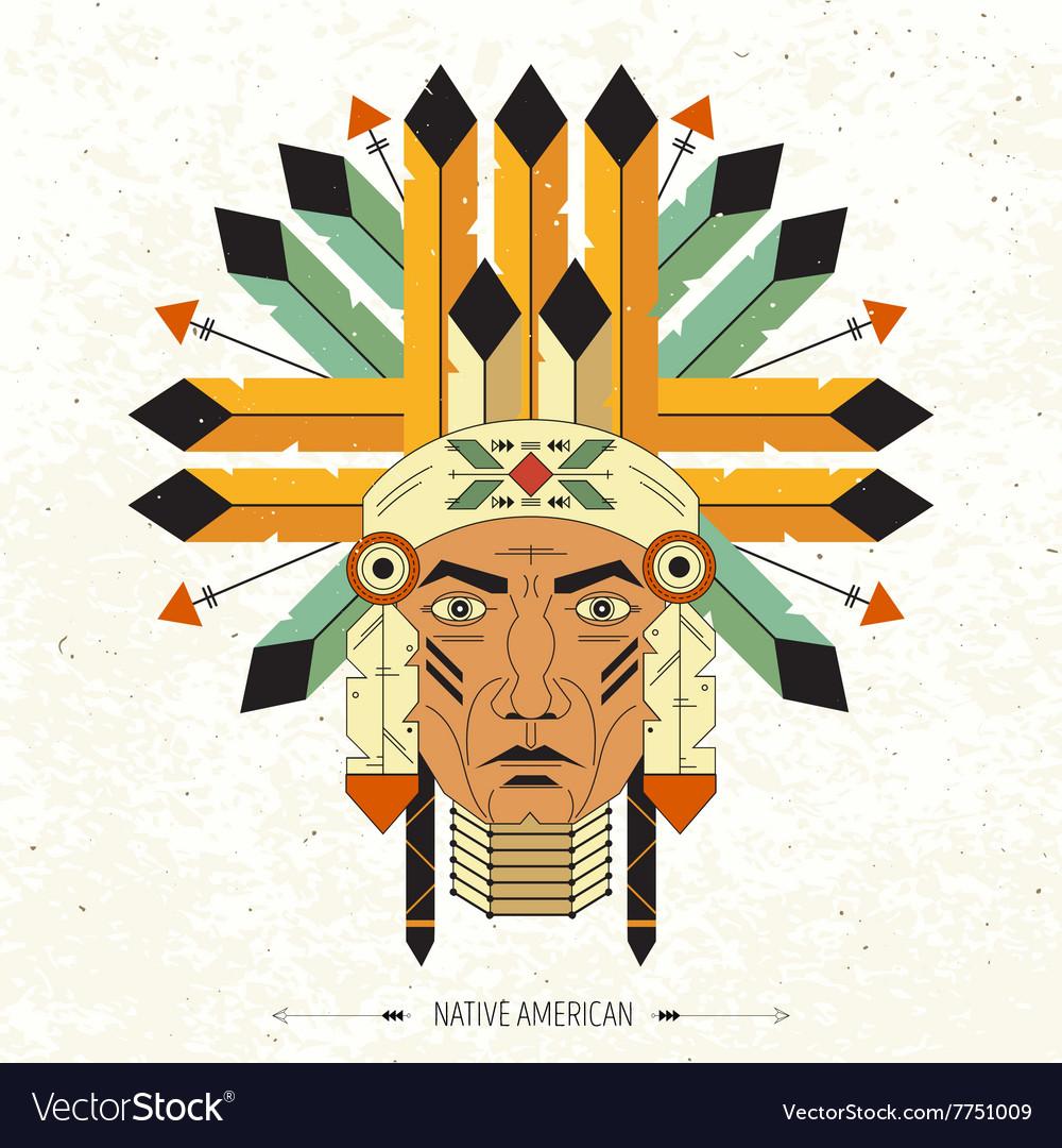 Linear portrait native indian