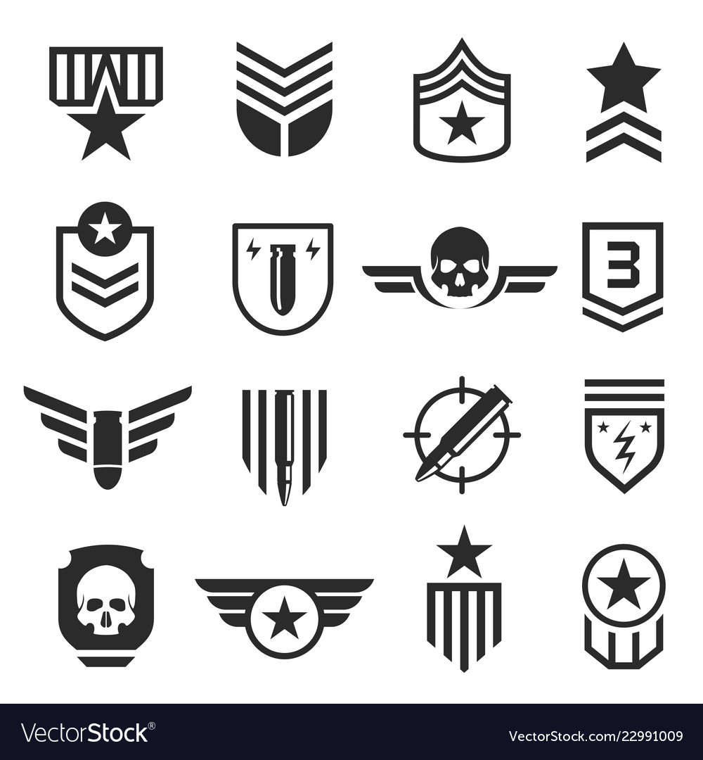 Military and army design element icon set