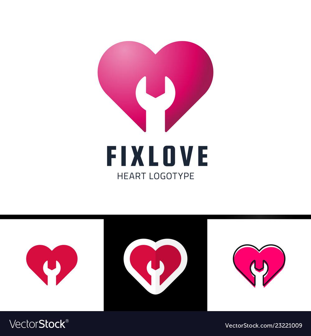 Repair or fix love heart logo design element