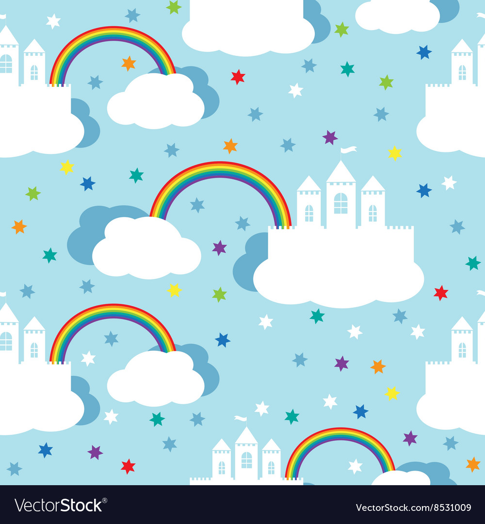 Seamless pattern with raindow castle and clouds