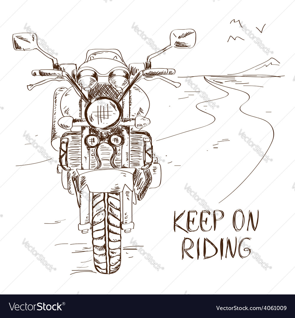 Sketch with motorbike