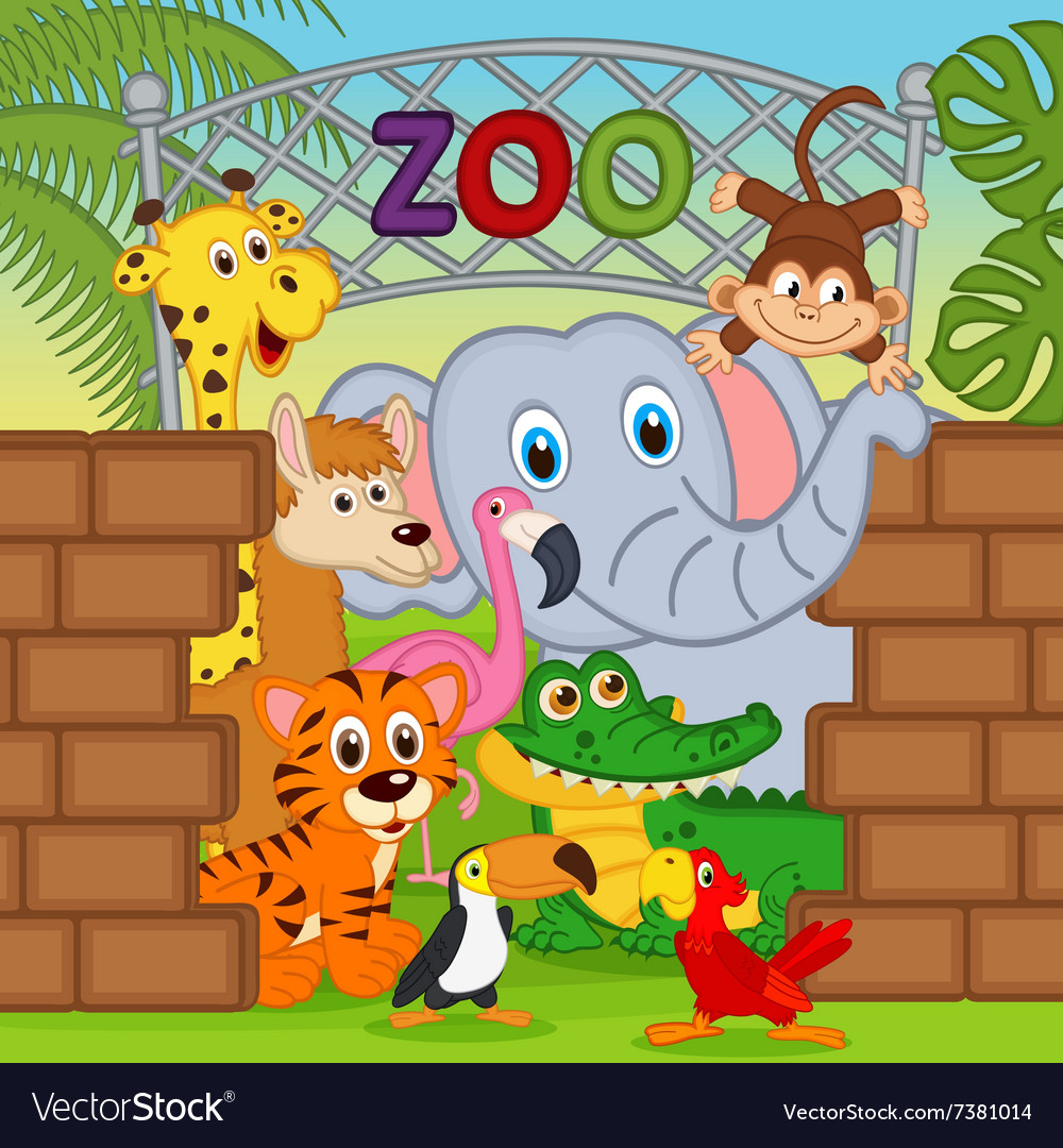 Animals at zoo vector