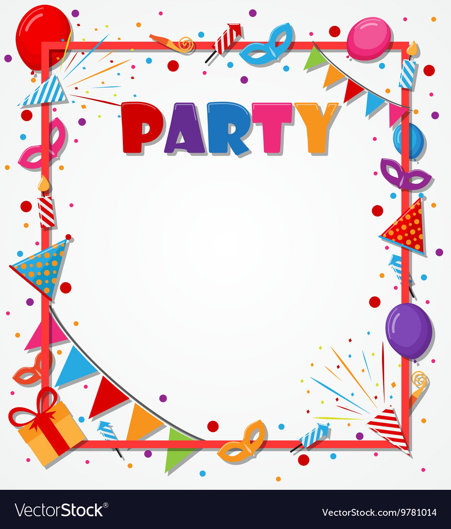 Birthday Celebration Background With Party Icons Vector Image