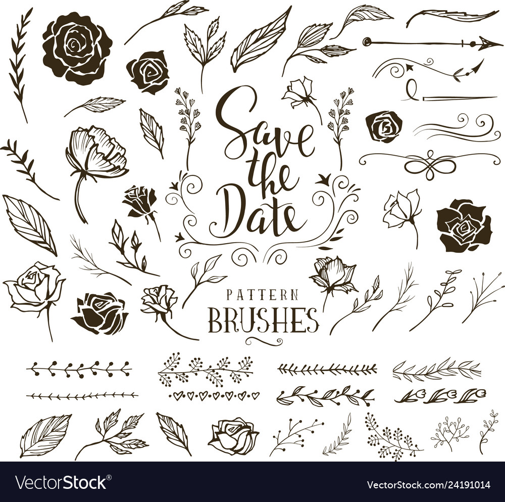 Collection of design elements for wedding