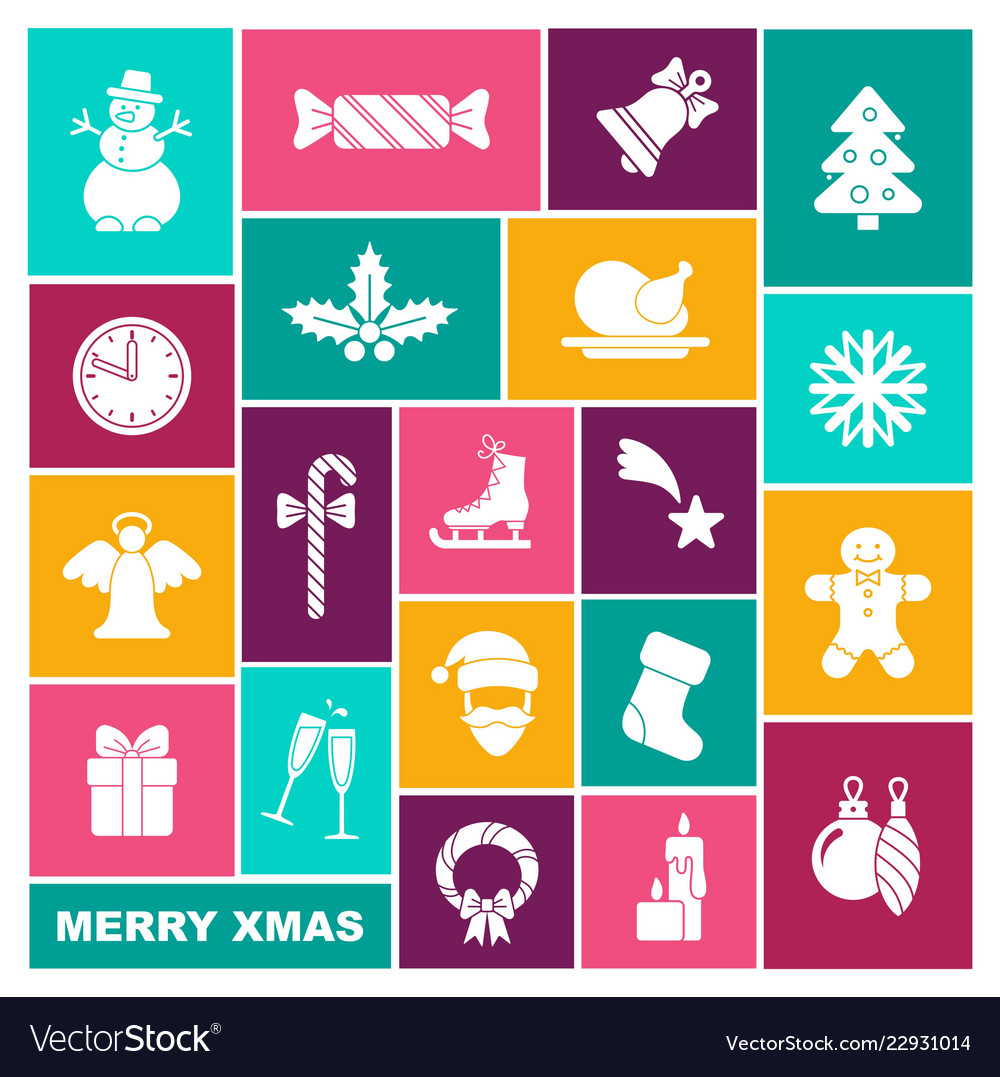 Collection of symbols of new year and christmas