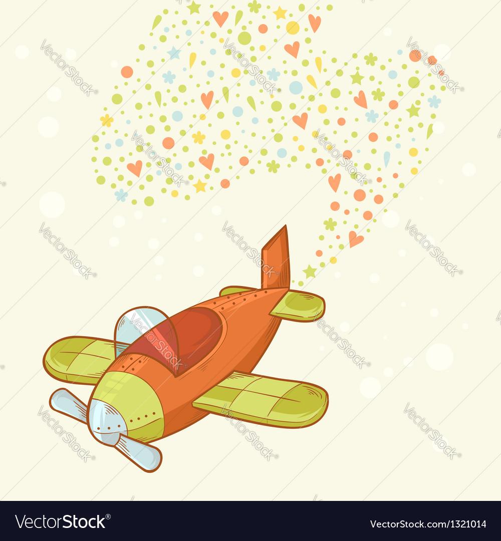 Cute cartoon hand-drawn airplane