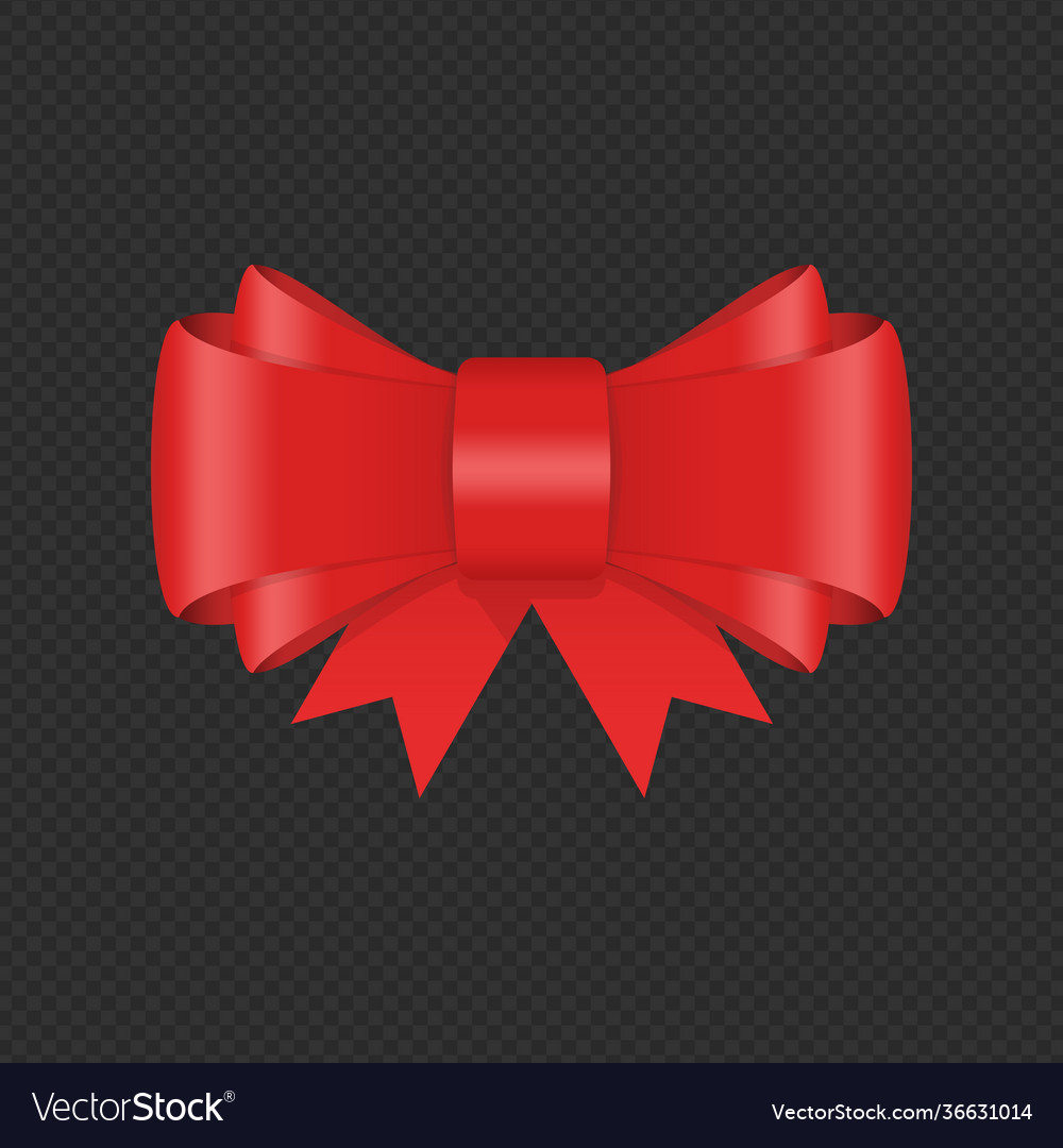 Decorative red bow with ribbon