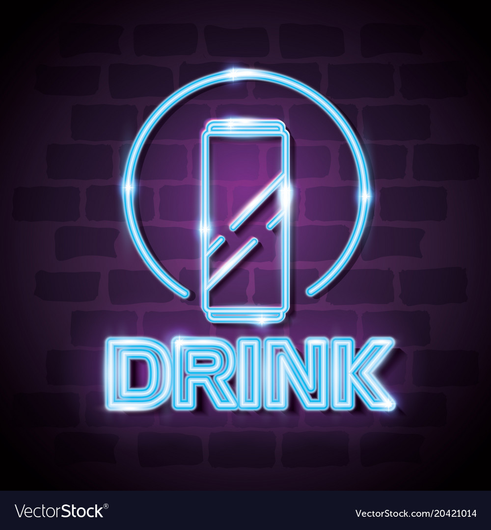 Drink bar neon label