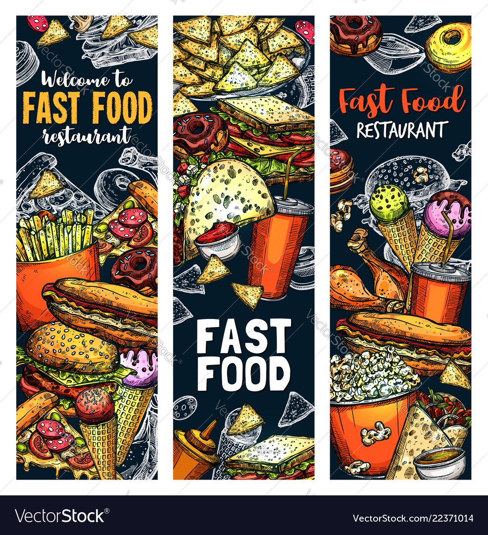 Fastfood burgers and sandwiches food sketch