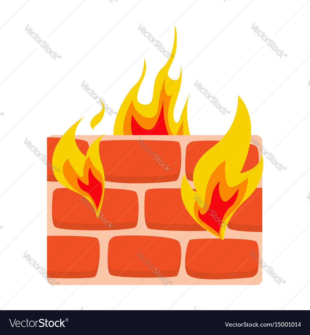 Firewall icon flat wall in fire icon