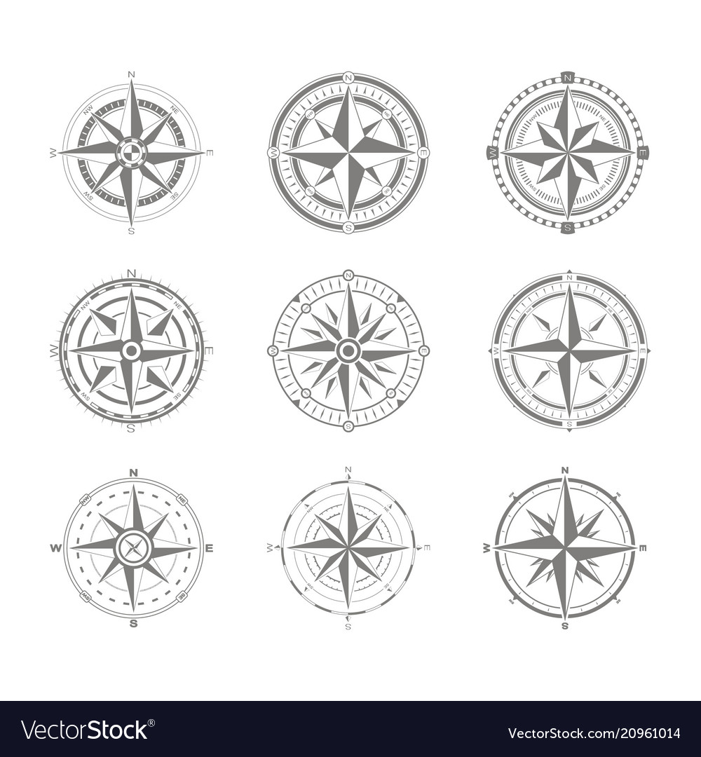 Icon set with compass rose