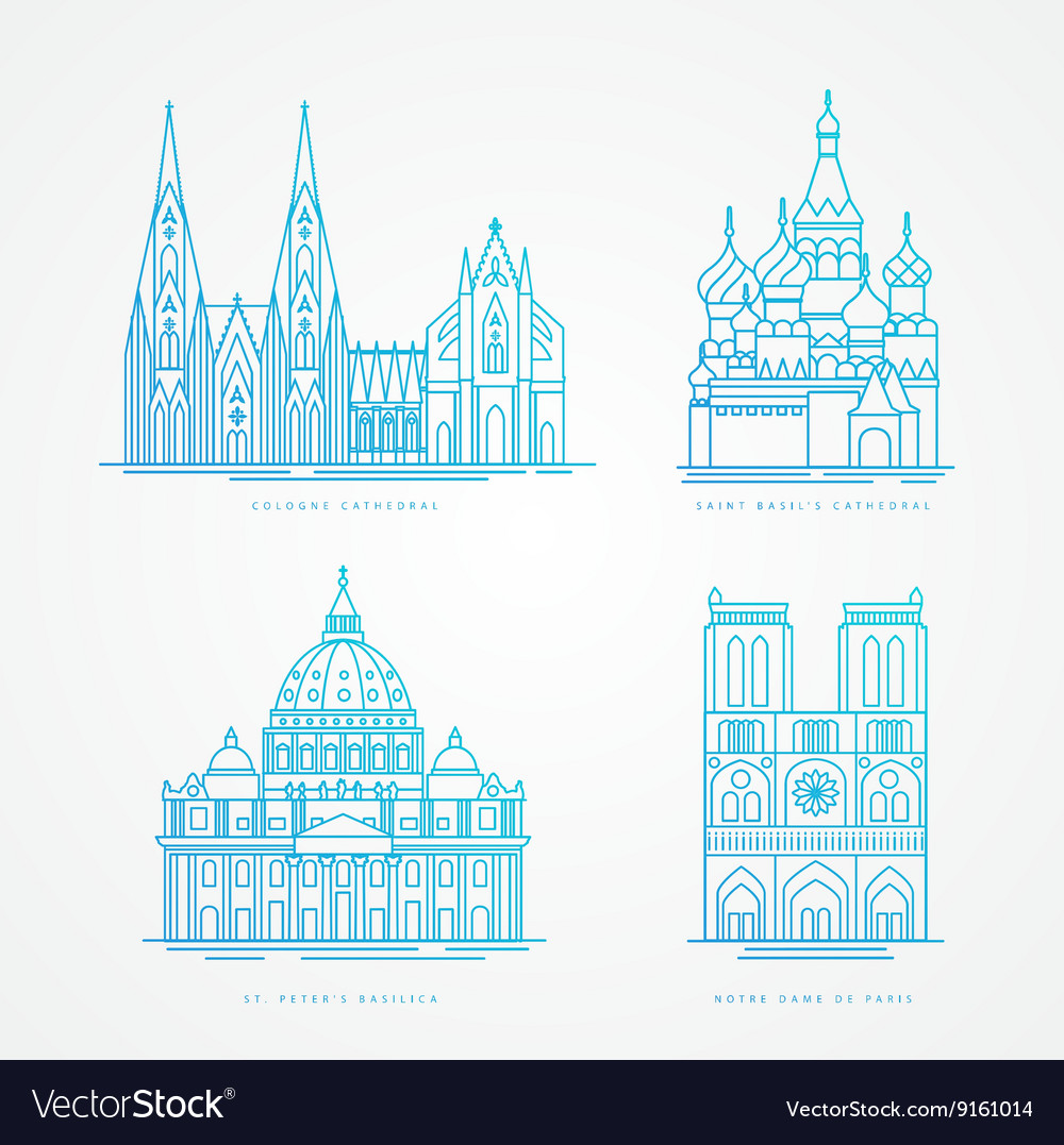 Linear icion set World famous cathedral