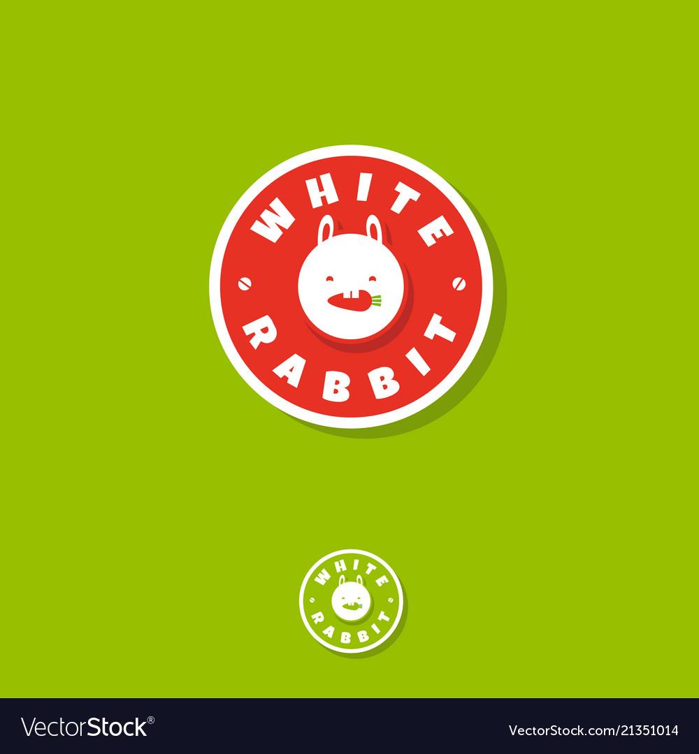 Logo white rabbit vegetarian eat carrot