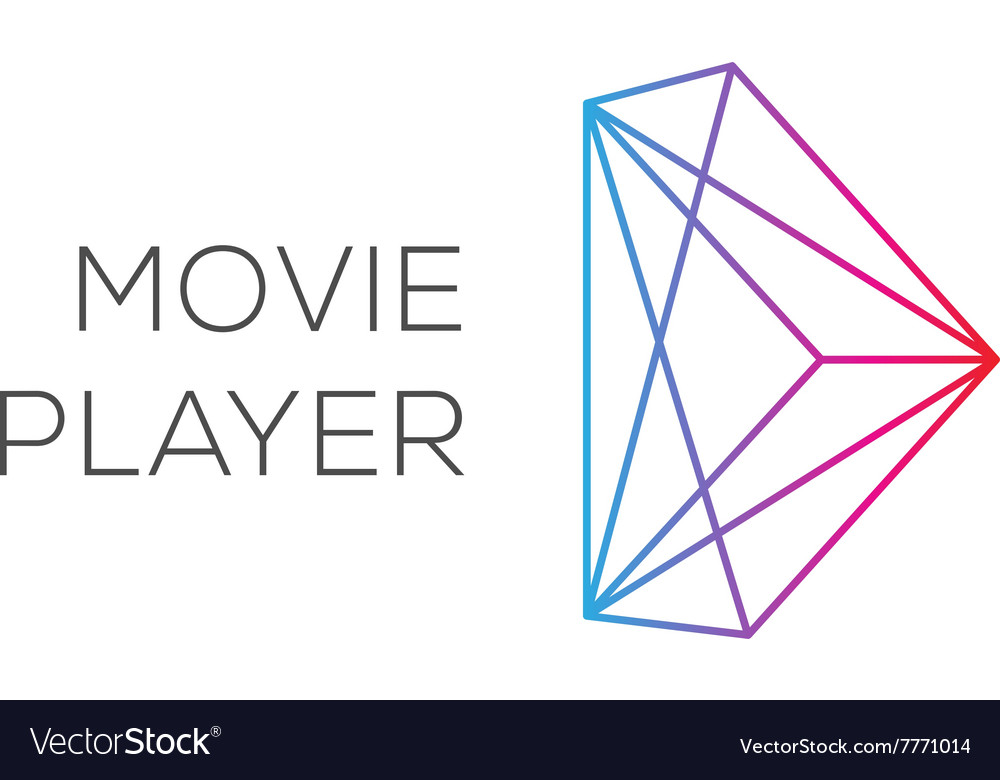 Movie player abstract colored play logotype