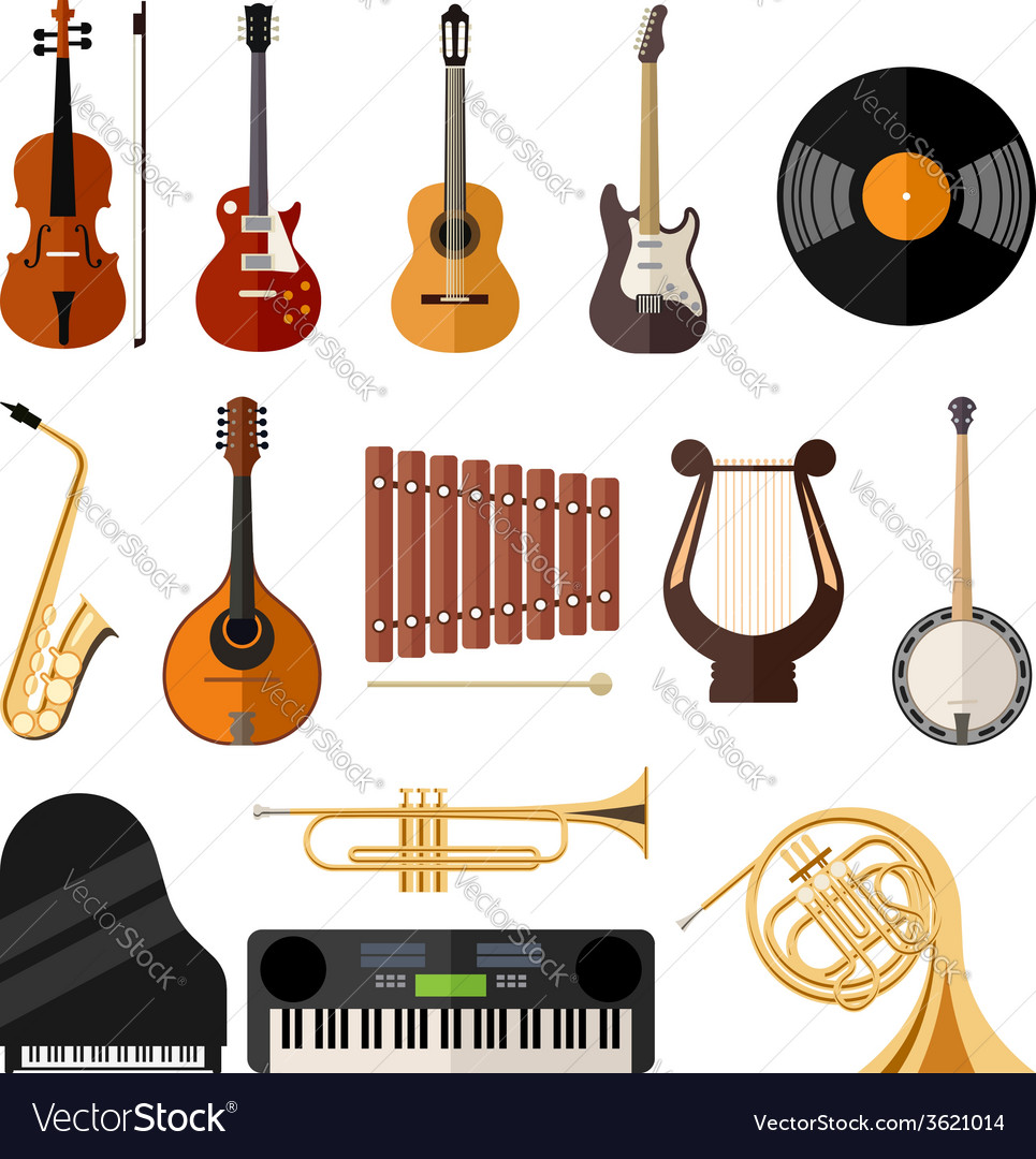Music instruments flat icons
