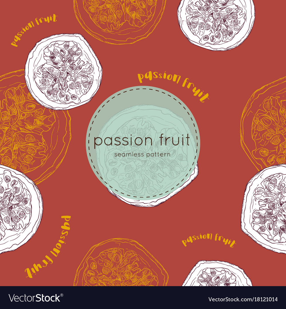 Passion fruit hand draw seamless