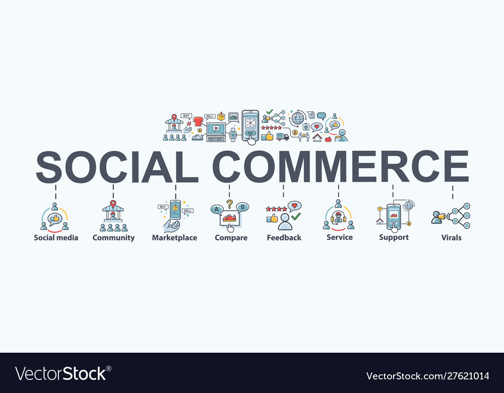 Social commerce banner web icon for e-commerce