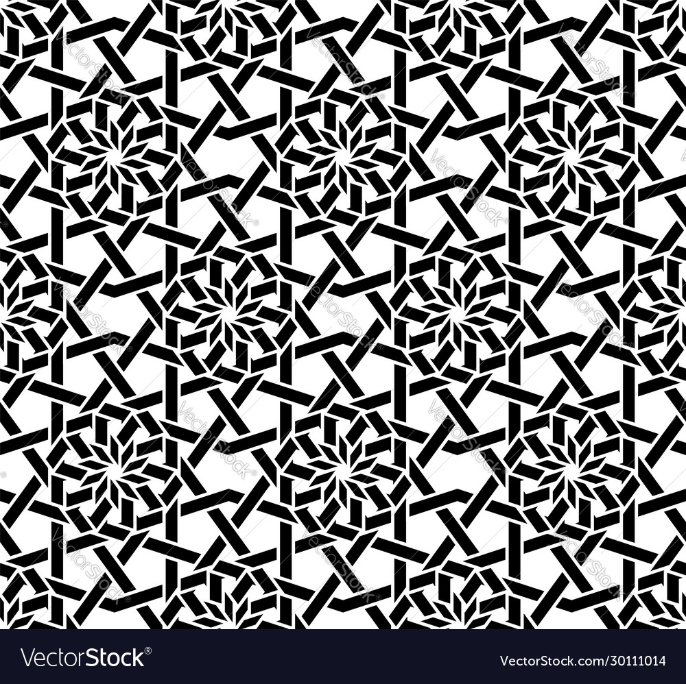 Traditional arabic black and white seamless